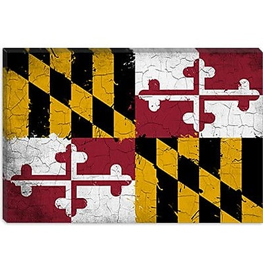 iCanvas Maryland Flag, Grunge Painted Graphic Art on Canvas; 8'' H x 12'' W x 0.75'' D