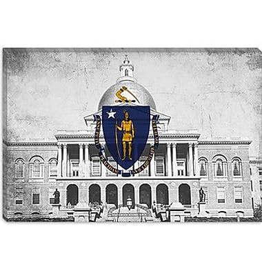 iCanvas Massachusetts Flag, Grunge State House Graphic Art on Canvas; 40'' H x 60'' W x 1.5'' D