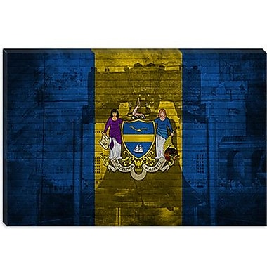 iCanvas Philadelphia Flag, Grunge Liberty Bell Graphic Art on Canvas; 18'' H x 26'' W x 1.5'' D