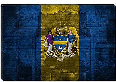 iCanvas Philadelphia Flag, Grunge Liberty Bell Graphic Art on Canvas; 26'' H x 40'' W x 0.75'' D