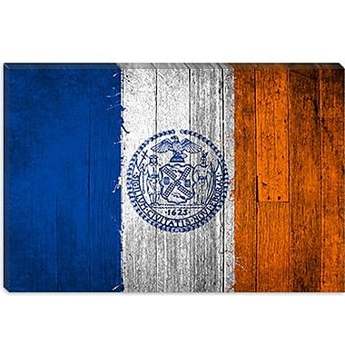 iCanvas Flags New York Boards Painted Graphic Art on Canvas; 12'' H x 18'' W x 1.5'' D