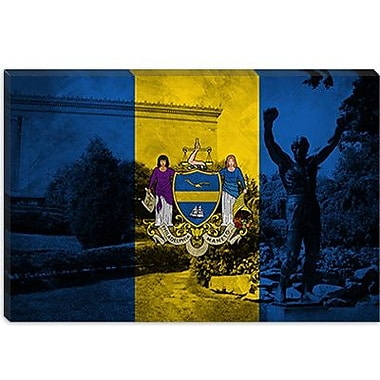 iCanvas Philadelphia Flag, Grunge Rocky Statue Graphic Art on Canvas; 12'' H x 18'' W x 1.5'' D