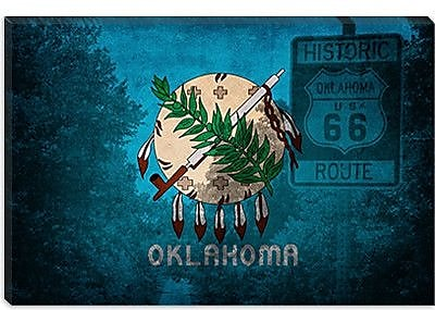 iCanvas Flags Oklahoma Route 66 Graphic Art on Canvas; 8'' H x 12'' W x 0.75'' D
