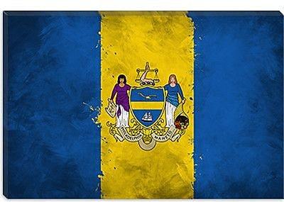 iCanvas Philadelphia Flag, Grunge Painted Graphic Art on Canvas; 12'' H x 18'' W x 0.75'' D