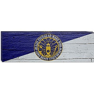 iCanvas Flags Long Beach Wave w/ Planks Panoramic Graphic Art on Canvas; 12'' H x 36'' W x 0.75'' D