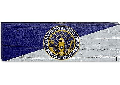 iCanvas Flags Long Beach Wave w/ Planks Panoramic Graphic Art on Canvas; 12'' H x 36'' W x 1.5'' D