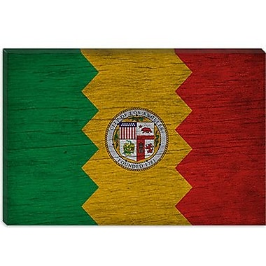 iCanvas Flags Los Angeles, California Grunge Graphic Art on Canvas; 12'' H x 18'' W x 1.5'' D