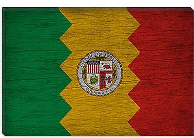 iCanvas Flags Los Angeles, California Grunge Graphic Art on Canvas; 26'' H x 40'' W x 0.75'' D