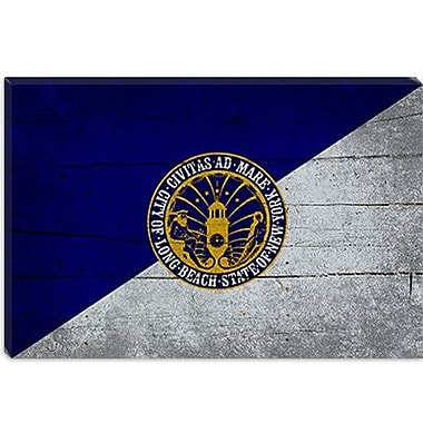 iCanvas Long Beach Flag, Planks w/ Grunge Graphic Art on Canvas; 18'' H x 26'' W x 1.5'' D