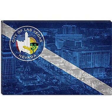 iCanvas Las Vegas Flag, Las Vegas Skyline Graphic Art on Canvas; 12'' H x 18'' W x 1.5'' D