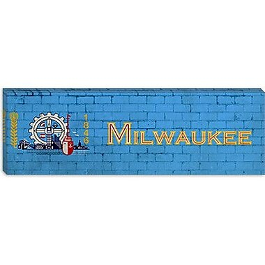 iCanvas Milwaukee Flag, Brick Graphic Art on Canvas; 16'' H x 48'' W x 0.75'' D