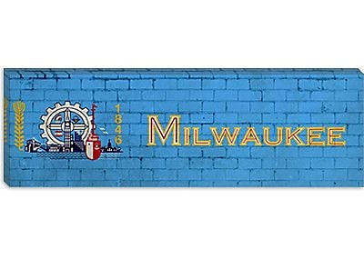 iCanvas Milwaukee Flag, Brick Graphic Art on Canvas; 16'' H x 48'' W x 1.5'' D