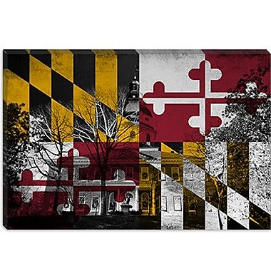 iCanvas Maryland Flag, Capitol Building Grunge Graphic Art on Canvas; 8'' H x 12'' W x 0.75'' D