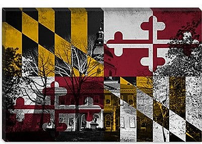 iCanvas Maryland Flag, Capitol Building Grunge Graphic Art on Canvas; 18'' H x 26'' W x 0.75'' D