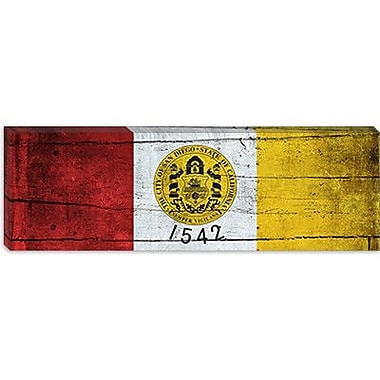 iCanvas San Diego Flag, Planks Panoramic Graphic Art on Canvas; 12'' H x 36'' W x 0.75'' D