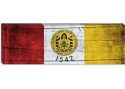 iCanvas San Diego Flag, Planks Panoramic Graphic Art on Canvas; 12'' H x 36'' W x 1.5'' D