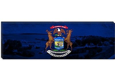 iCanvas Michigan Flag, Panoramic Grunge Marquette Graphic Art on Canvas; 16'' H x 48'' W x 0.75'' D