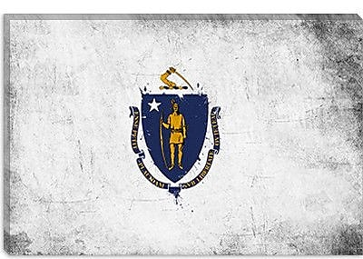 iCanvas Massachusetts Flag, Grunge Painted Graphic Art on Canvas; 18'' H x 26'' W x 0.75'' D