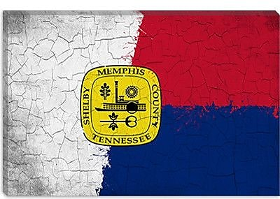 iCanvas Memphis, Tennessee Flag Grunge Painted Graphic Art on Canvas; 26'' H x 40'' W x 1.5'' D