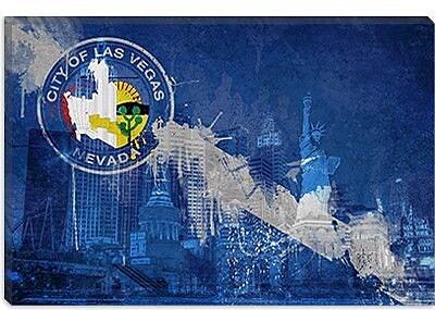 iCanvas Las Vegas Flag , ''New York'' Graphic Art on Canvas; 40'' H x 60'' W x 1.5'' D