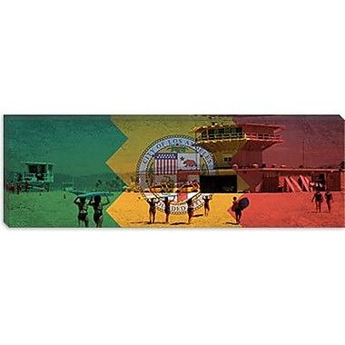 iCanvas California Flag, Los Angeles, Beach Grunge Graphic Art on Canvas; 16'' H x 48'' W x 1.5'' D