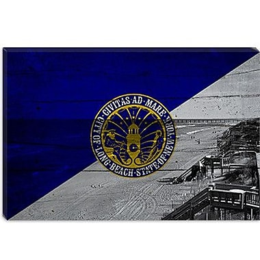 iCanvas Long Beach Flag, Beach w/ Planks Graphic Art on Canvas; 12'' H x 18'' W x 1.5'' D