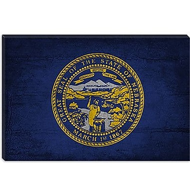 iCanvas Flags Nebraska Cracks w/ Grunge Graphic Art on Canvas; 8'' H x 12'' W x 0.75'' D