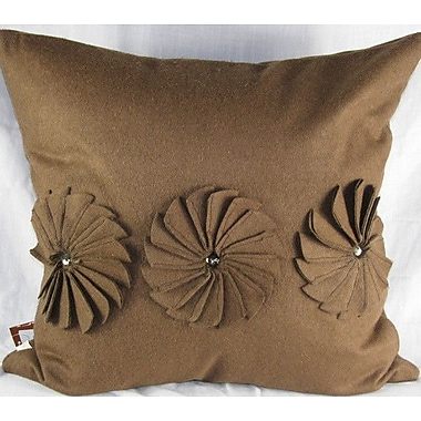 Design Accents Pinwheels Felt Throw Pillow; Ivory