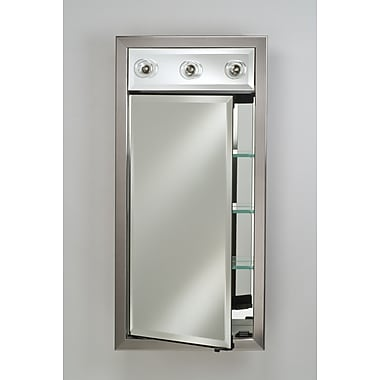 Afina Signature 24'' x 34'' Recessed Medicine Cabinet w/ Lighting; Valencia Antique Silver