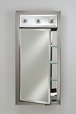 Afina Signature 24'' x 34'' Recessed Medicine Cabinet w/ Lighting; Soho Fluted Chrome