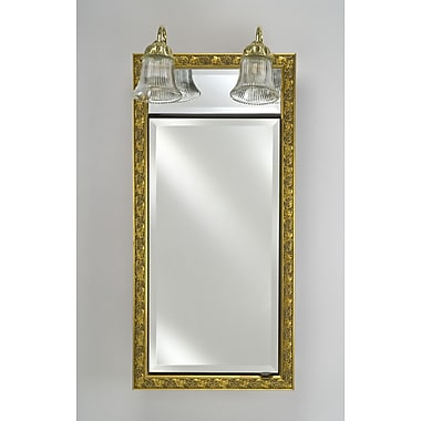 Afina Signature 20'' x 30'' Recessed Medicine Cabinet w/ Lighting; Valencia Antique Gold