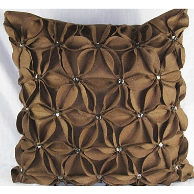 Design Accents Poinsettias Jewels Felt Throw Pillow; Brown