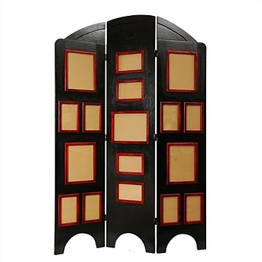 Oriental Furniture 67.5'' x 45'' Arc Top Photo Display 3 Panel Room Divider