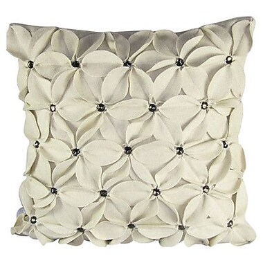 Design Accents Poinsettias Jewels Felt Throw Pillow; Ivory