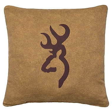 Browning Buckmark Logo Cotton Throw Pillow; Tan