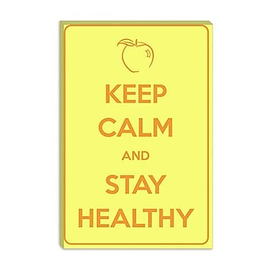 iCanvas Keep Calm and Stay Healthy Graphic Art on Canvas; 12'' H x 8'' W x 0.75'' D