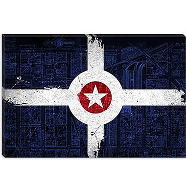 iCanvas Indianapolis Flag, Map Graphic Art on Canvas; 26'' H x 40'' W x 0.75'' D