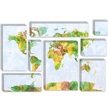 iCanvas 'World Map' by Michael Tompsett Painting Print on Canvas; 26'' H x 40'' W x 1.5'' D