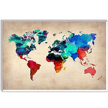 iCanvas Naxart 'World Watercolor Map I' Graphic Art on Canvas; 12'' H x 18'' W x 1.5'' D
