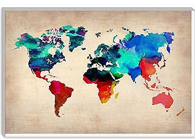 iCanvas Naxart 'World Watercolor Map I' Graphic Art on Canvas; 18'' H x 26'' W x 0.75'' D