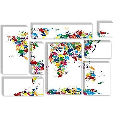 iCanvas 'World Map Paint Drops' by Michael Tompsett Graphic Art on Canvas; 40'' H x 60'' W x 1.5'' D