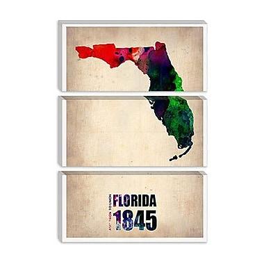iCanvas Naxart 'Florida Watercolor Map' Graphic Art on Canvas; 18'' H x 12'' W x 1.5'' D