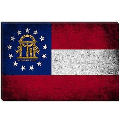 iCanvas Georgia Flag, Grunge Graphic Art on Canvas; 18'' H x 26'' W x 1.5'' D