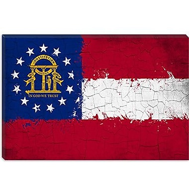 iCanvas Georgia Flag, Grunge Painted Graphic Art on Canvas; 12'' H x 18'' W x 0.75'' D