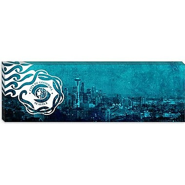iCanvas Flags Seattle City Skyline Panoramic Graphic Art on Canvas; 12'' H x 36'' W x 0.75'' D