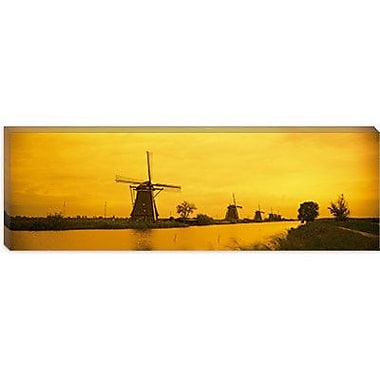 iCanvas Panoramic Windmills Netherlands Photographic Print on Canvas; 16'' H x 48'' W x 0.75'' D