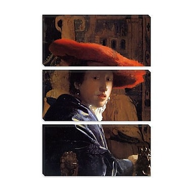 iCanvas 'Girl w/ a Red Hat' by Johannes Vermeer Painting Print on Canvas; 60'' H x 40'' W x 1.5'' D