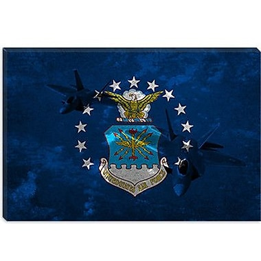 iCanvas Air-Force Flag, Raptor Graphic Art on Canvas; 18'' H x 26'' W x 1.5'' D
