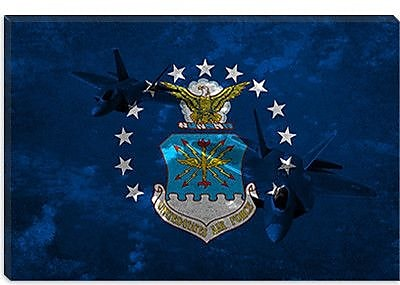 iCanvas Air-Force Flag, Raptor Graphic Art on Canvas; 18'' H x 26'' W x 0.75'' D