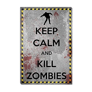 iCanvas Keep Calm and Kill Zombies Graphic Art on Canvas; 18'' H x 12'' W x 1.5'' D